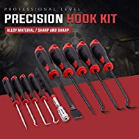 Precision Scraper Gasket Scraping Hose Removal Puller Hook and Pick Set Perfect for Automotive and Electronic Tools Swpeet 9Pcs Long Hook and Pick Set with Magnetic Telescoping Pick Up Tool Kit