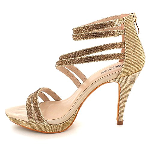 de dorada tacón AARZ baile bodas alto semana mujer punta Para fin sandalias con LONDRES fiesta brillo abierta zapatos talla de de de de RwqRBfF
