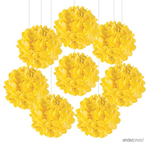 Andaz Press Tissue Paper Pom Poms Hanging Decorations, Yellow, 6-inch, 8-Pack, Colored Birthday Party Supplies (Yellow Decorations)
