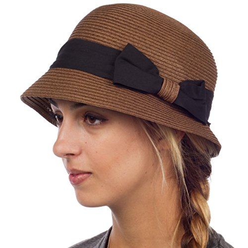 EH1641LC - Womens 100% Paper Straw Ribbon Bow Accent Cloche Bucket Bell Summer Hat - Brown/One Size