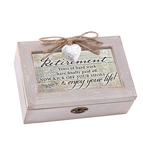 Cottage Garden Retirement Enjoy Your Life Natural Taupe Wood Locket Petite Music Box Plays Edelweiss ()