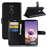 LG Stylo 4 Wallet Case, [LuckQR] Luxury PU Leather Wallet Case, Folding Kickstand, Folio Design with ID Card & Cash Slot, Magnetic Clasp Closure Protective Phone Cover For LG Stylo 4 - Black