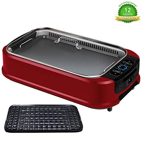 KCZAZY Electric Smokeless Grill with Glass Lid, Indoor and Outdoor Use, Portable BBQ Grilling & Searing, Grill Grate and Griddle Plate Removable, Dishwasher Safe (VIP Support) - Wine Red