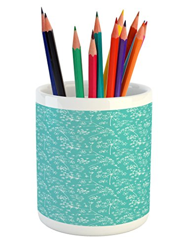 Lunarable Turquoise Pencil Pen Holder, Delicate Umbrellas Parsley Dill Blossom Wildflower Summertime Plants Artwork, Printed Ceramic Pencil Pen Holder for Desk Office Accessory, Seafoam White