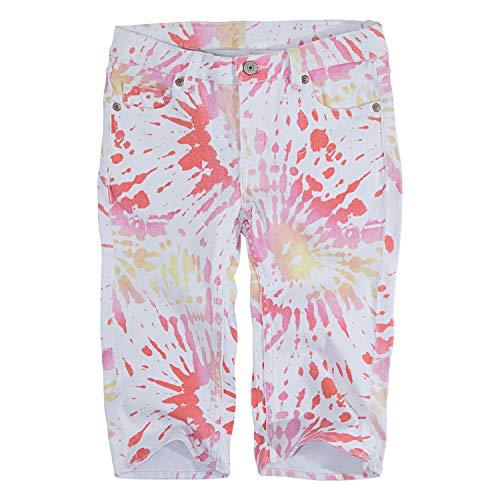 (Levi's Girls' Big Denim Skimmer Shorts, White Sunrise, 8)