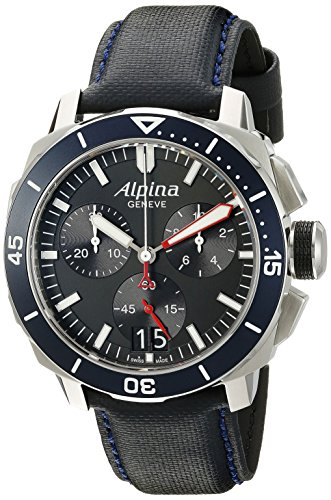 Alpina Men's AL-372LBN4V6 Seastrong Diver 300 Chronograph Big Date Analog Display Swiss Quartz Blue Watch
