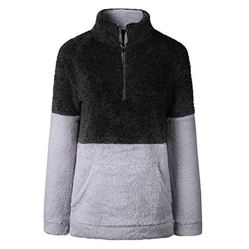 EC Lightweight Oversized Sleeve Winter Pullover Fleece Jackets Fleece Tops Long Black Womens Sweatshirt Zip Up AOWEI qwdRzOR