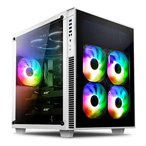 anidees AI-CL-CUBE-W-PM ATX Steel / Tempered Glass Cube PC Case Support E-ATX, 280/240 Radiator - White(RGB Version) by Anidees
