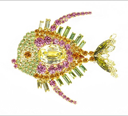 Vibrant Yellow Pink and Orange Swarovski Stone Fish Pin with Movable Tail by Albert (Fish Brooch)