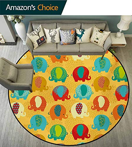 RUGSMAT Elephant Nursery Warm Soft Cotton Luxury Plush Baby Rugs,Ethnic Curvy Elephants Ethnic Asian Style Colorful Mandala East Inspired Kids Teepee Tent Game Play House Round,Round-59 - Elephant Tent Kid Play