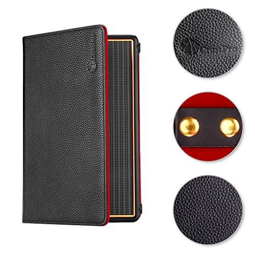 Meijunter Foldable Flip Magnetic Case Cover Sleeve Holder Sleeve Bag Pouch for Marshall Stockwell Portable Bluetooth Speaker Color Black w/Red