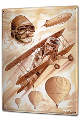 LEotiE SINCE 2004 Tin Sign Metal Plate Decorative Sign Home Decor Plaques 30 x 40 cm Airplane Airport Zeppelin Air Balloon