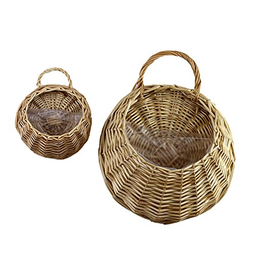 (Handmade Woven Hanging Basket Natural Wicker Storage Basket, Straw and Willow Basket Flower Pot Rustic Rattan Hanging Wall Basket Vase Container for Home Garden Wedding Wall Decoration(A))