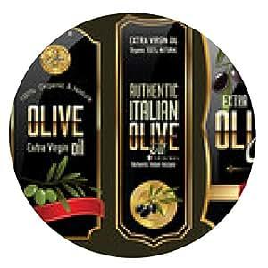 alfombrilla de ratón oro de oliva y colección de pancartas negro - ronda - 20cm