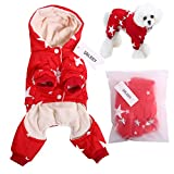 QBLEEV 2017 New Pet Dog Vest Jackets Coat Puppy Outfit Clothes Climate Changer Cotton Nylon Fleece Costumes Cozy Elastic Waistband Windproof Husky Golden Retriever Red Blue (S - Red)