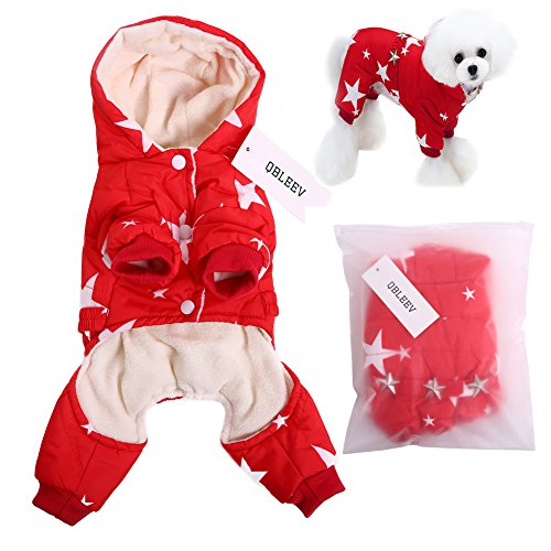Qbleev 2017 New Pet Dog Vest Jackets Coat Puppy Outfit Clothes Climate Changer Cotton Nylon Fleece Costumes Cozy Elastic Waistband Windproof Husky Golden Retriever Red Blue  S  Red