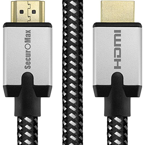 (HDMI Cable 3ft - HDMI 2.0 Ready (4K @ 60Hz, 18Gbps) - Braided Cord (28AWG) - High Speed (Category 2) with Ethernet & Audio Return - Video 4K 2160p, HD)
