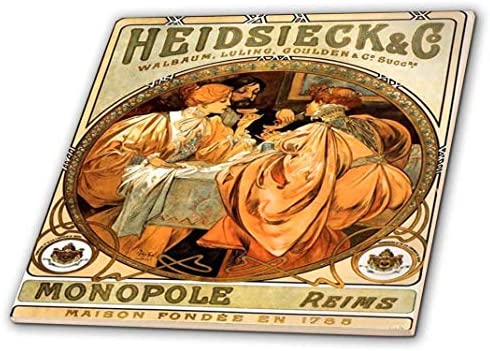 6-Inch 3dRose Print of Champagne Ad by Alphonse Mucha Ceramic Tile ct/_203974/_2