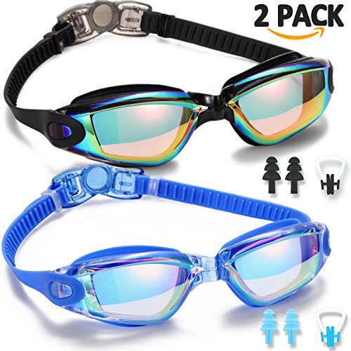 Swim Goggles, 2 Pack Swimming Goggles for Adult Men Women Youth Kids Child, No Leaking Anti Fog UV 400 Protection Waterproof 180 Degree Clear Vision Triathlon Pool Goggles (Goggles Swimmers)