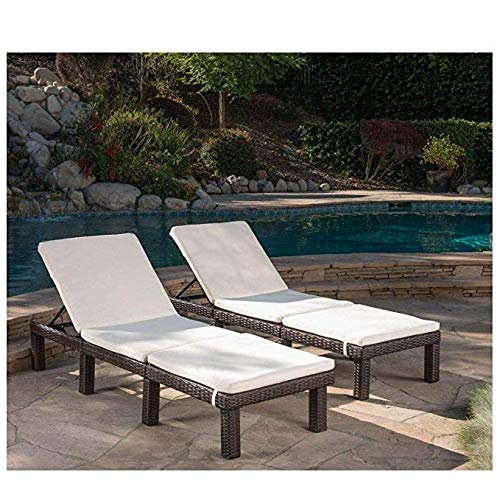 Christopher Knight Home Jamaica Outdoor Water Resistant Chaise Lounge Cushion (Cream/Set of 2)