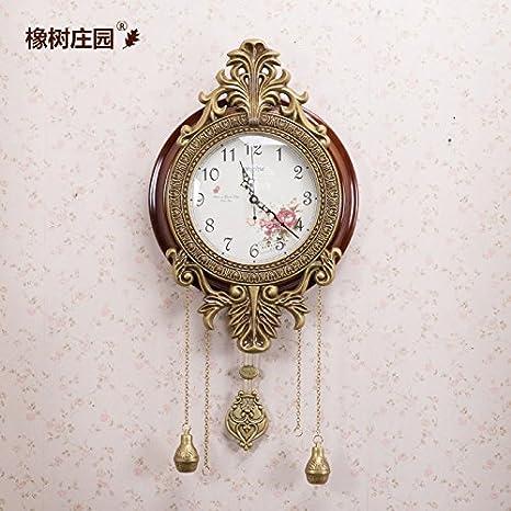 CHLWW El Estilo Europeo Clásico Reloj De Pared De Madera Maciza De Cobre Jardín De Estilo Coreano Casa Salón Dormitorio Relojes Con El Péndulo: Amazon.es: ...