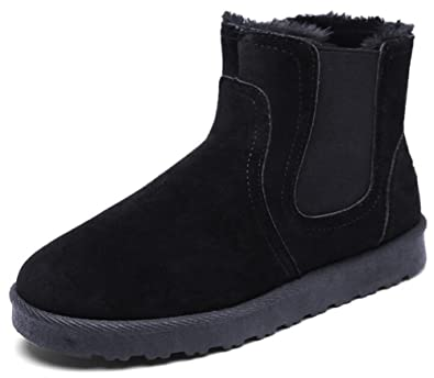 Men's Comfy Faux Suede Fleece Lined Pull On Flat Short Ankle High Snow Boots Winter Shoes