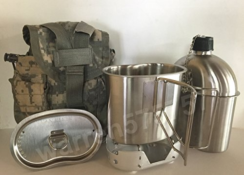 G.A.K G.I. Style 1 qt. Stainless Steel Canteen with Cup and Vented Lid with New (Aluminum) Stove Foldable, and Used Surplus G.I. Issue Cover (ACU MOLLE II) by G.A.K