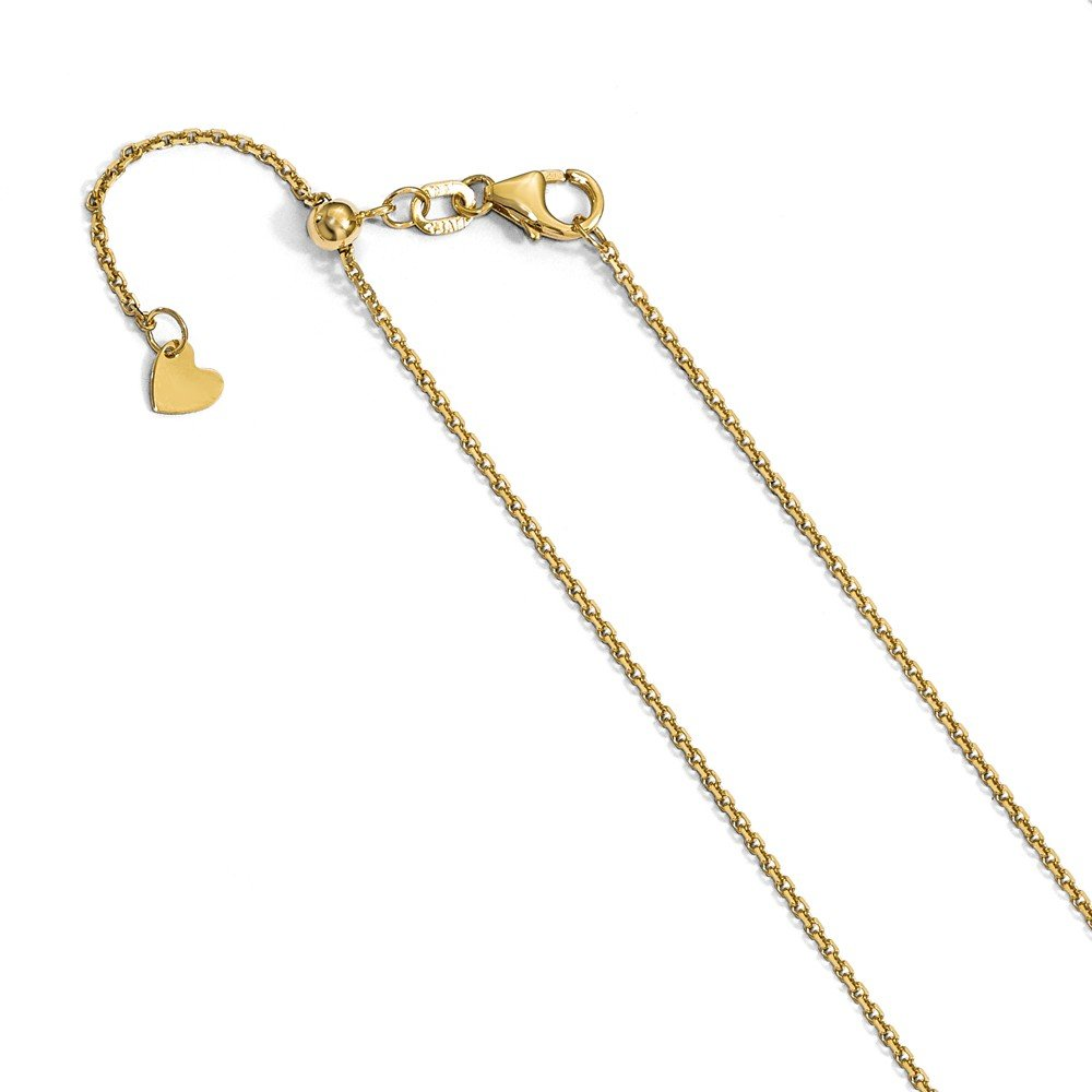 14K Yellow Gold Cruise Ship Pendant on an Adjustable 14K Yellow Gold Chain Necklace