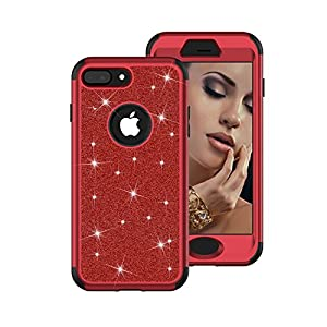 "iPhone 8 Case, iPhone 7 Case, AOKER [Glitter Series] Three Layers Shockproof Fashion Luxury Bling Crystal Glitter Sparkle Phone Case Cover for Apple 4.7"" iPhone 8 /iPhone 7 (Red Black)"