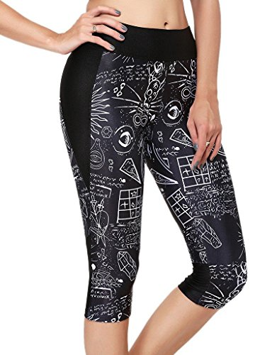 Womens Graffiti Printed Pattern Yoga Leggings Sports Active Pants Tights Size L