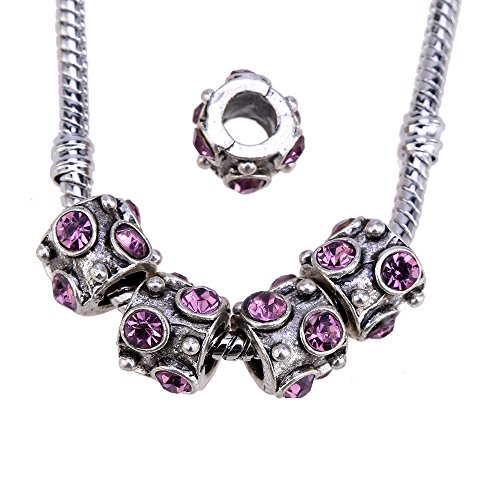 RUBYCA Purple Crystal Beads, Silver Color Charms, Tibetan Spacer Beads for Charm Bracelet, Jewelry Making Supplies (10pcs)