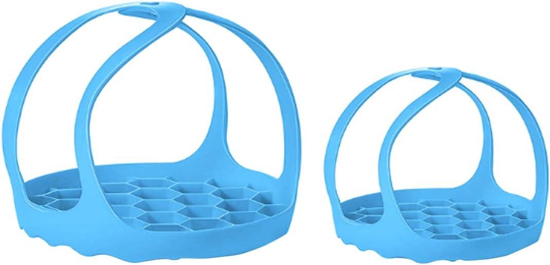 suiwotin 2PCS Pressure Cooker Sling, Pressure Cooker Bakeware Sling, Silicone Trivet For Instant Pot for 3/6/8 Qt Instant Pot, and Other Pressure Cookers, BPA-Free Silicone Egg Steamer Rack (Blue)