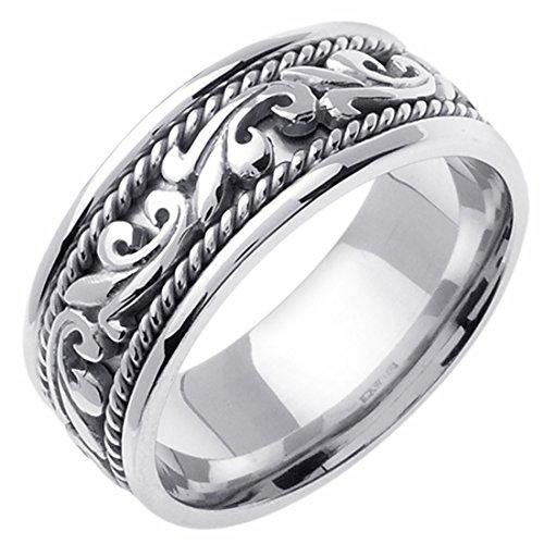 14K White Gold 9mm Rope Design Wedding Band Promise Ring Comfort Fit (Design Ring Wedding Rope Band)