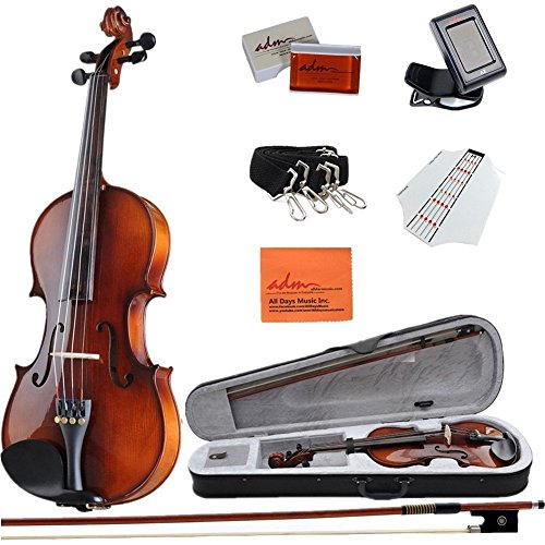 ADM Acoustic Violin 4/4 Full Size Handmade Wooden Outfit Beginner Pack for Student