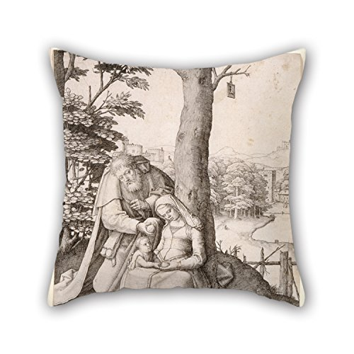 [Loveloveu Throw Pillow Case Of Oil Painting Lucas Van Leyden - The Holy Family,for Home Office,bar,boy Friend,car,kitchen,bench 18 X 18 Inches / 45 By 45 Cm(two] (Lucas Mother 3 Costume)