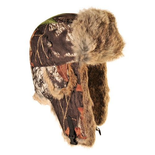 (Mad Bomber Mossy Oak Breakup Saddlecloth Aviator Pilot Hat Real Rabbit Fur Trapper Hunting Cap, Large)