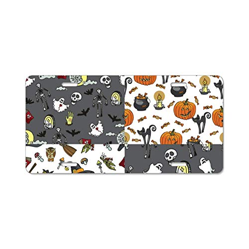YEX Abstract Halloween Party License Plate Frame with 4 Holes Novelty Car Licence Plate Covers Auto Tag Holder Tag -
