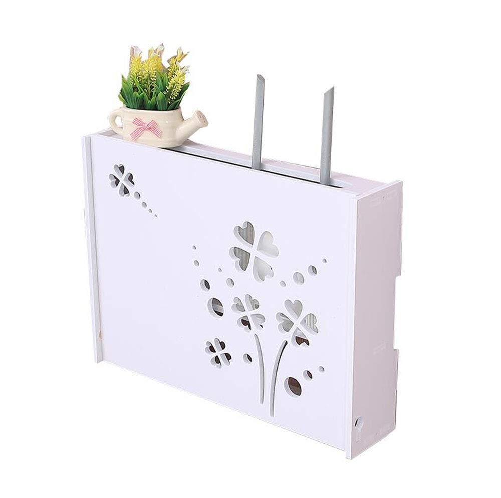 FU HOME Wireless Router Storage Box Wall Hanging WiFi Light Cat Decorative Shelter Box Rack Set-top Box Shelf Free Punching White by FU HOME
