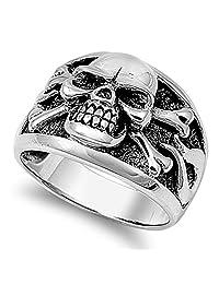 Men's Biker Skull Crossbones Polished Ring .925 Sterling Silver Band Sizes 7-14