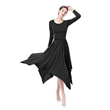 088a52dbfc68 IWEMEK Women Irregular Hem Liturgical Praise Dance Dress Lyrical Loose Fit  Full Length Long Sleeve Pleated