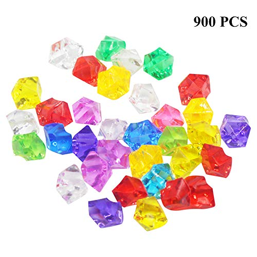 (900PCS Colorful Acrylic Gems Crystal Stone Plastic Gemstones Pirate Jewels Treasure Colored Fake Diamond for Table Scatters,Vase Fillers,Wedding,Arts Crafts,Party Birthday Decoration - Mixed Color )