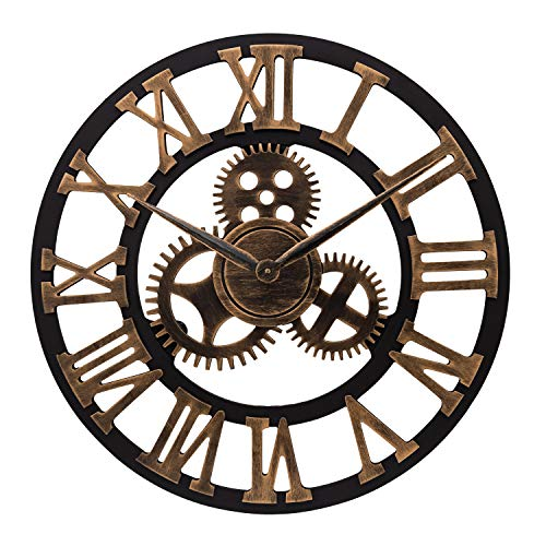 ufengke Industrial Large Gear Wall Clock Gold Roman Number Skeleton Quartz Clocks for Living Room Bedrooms Lounge 23""