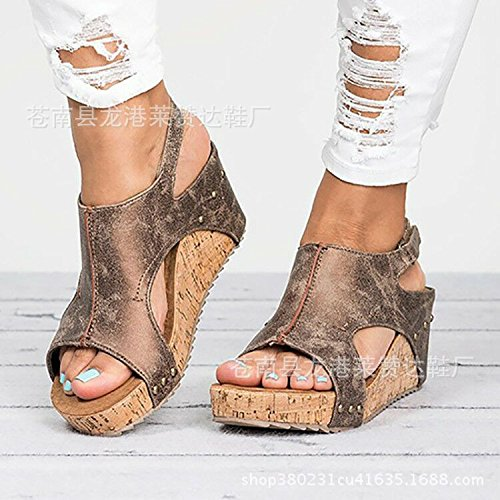 ZHANGJIA MsThe Pendiente Inferior Grueso con la Boca de Pescado Sandalias para Mujer Zapatos Zapatos de Comercio Exterior 40
