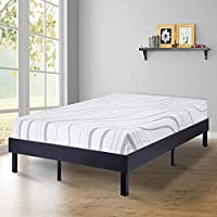 SLEEPLACE 14 Inch Modern Wood Platform Bed Frame / Steel Slat Non-Slip support / Classic Black (King)