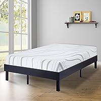 SLEEPLACE 14 Inch Modern Wood Platform Bed Frame / Steel Slat Non-Slip support / Classic Black (King)