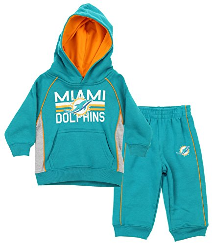 NFL Little Boys Todders / Infants Classic Fan 2 Piece Hoodie & Pant Set, Various Teams (Miami Dolphins, 2T)