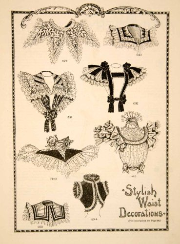 [1898 Wood Engraving Stylish Waist Decoration Bodice Victorian Costume Fashion - Original Wood] (V The Series Costumes)