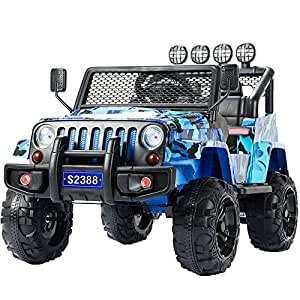 Uenjoy Jeep Electric Kids Ride On Cars 12V Battery Power Vehicles W/ Wheels Suspension, Remote Control, Music& Story Playing, Colorful Lights, Sunshine Model, Camouflage Blue
