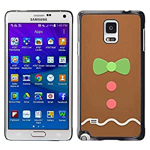 LECELL--Funda protectora / Cubierta / Piel For Samsung Galaxy Note 4 SM-N910 -- Man Bowtie Pink Green Xmas --