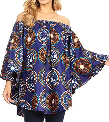 (Sakkas 2163 - Zane Off-Shoulder Circle Poncho Top Blouse Relax Fit Elastic Neckline - 423-BlueMulti - OS )